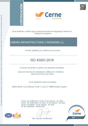 Certificado ISO 45001 - 2018 URBANA. CERNER VIGENTE-01